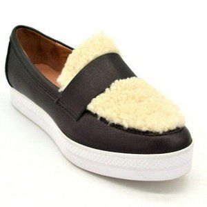 Anthropologie All Black Shearling Leather Sneaker